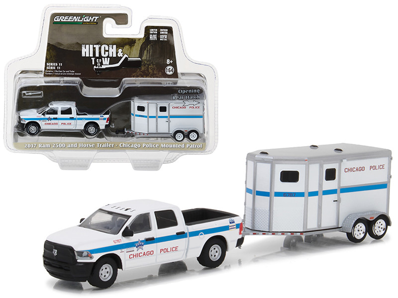 2017 Dodge Ram 2500 and Horse Trailer Chicago Police Mounted Patrol Hitch & Tow Series 11 1/64 Diecast Car Model Greenlight 32110 D