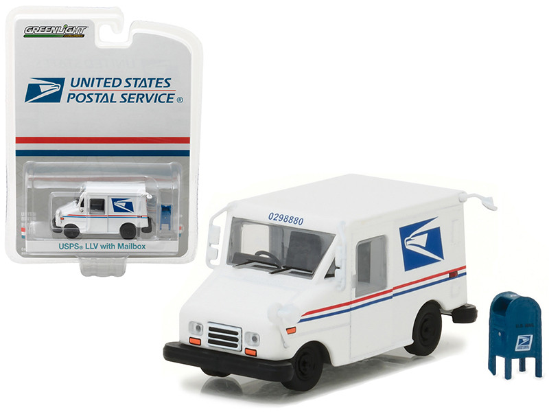 United States Postal Service USPS Long Live Postal Mail Delivery Vehicle LLV with Mailbox Accessory Hobby Exclusive 1/64 Diecast Model Car Greenlight 29888