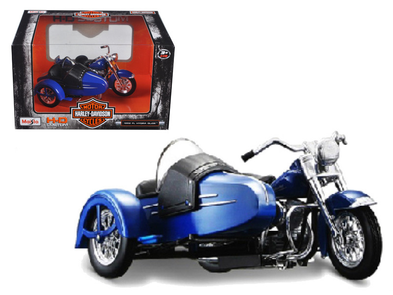 1952 Harley Davidson FL Hydra Glide with Side Car Blue with Black Motorcycle 1/18 Diecast Model Maisto 03175