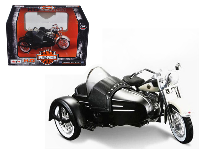 1958 Harley Davidson FLH DUO Glide with Side Car Black with White Motorcycle 1/18 Diecast Model Maisto 03176