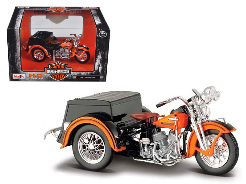 1947 Harley Davidson Servi-Car Black with Orange HD Custom Motorcycle 1/18 Diecast Model Maisto 03179