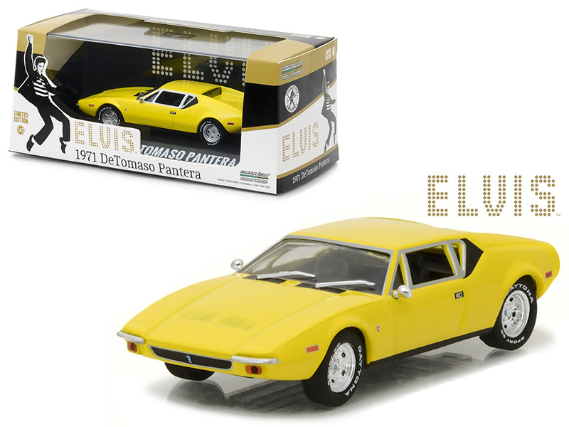 Elvis Presley's 1971 De Tomaso Pantera Yellow 1935-1977 1/43 Diecast Model Car Greenlight 86502