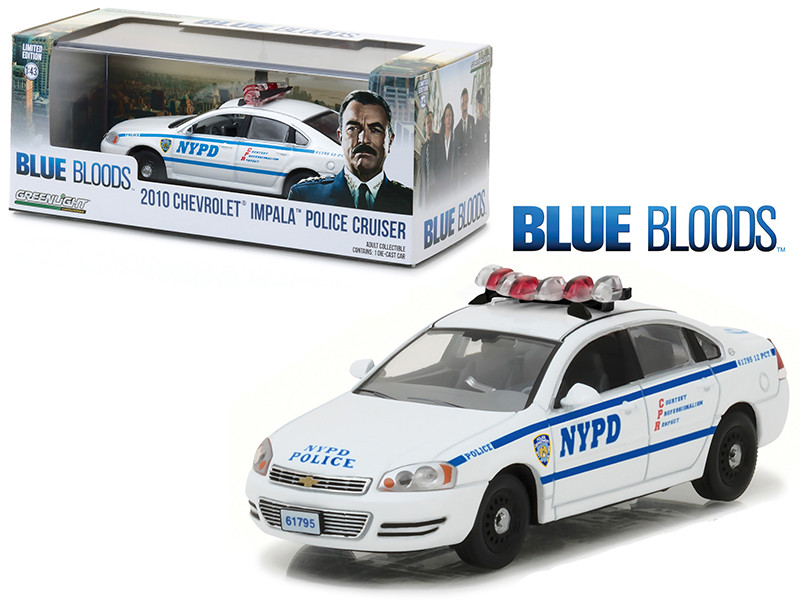 2010 Chevrolet Impala NYPD New York Police Department Interceptor from Blue Bloods 2010-Current TV Series 1/43 Diecast Model Car Greenlight 86509