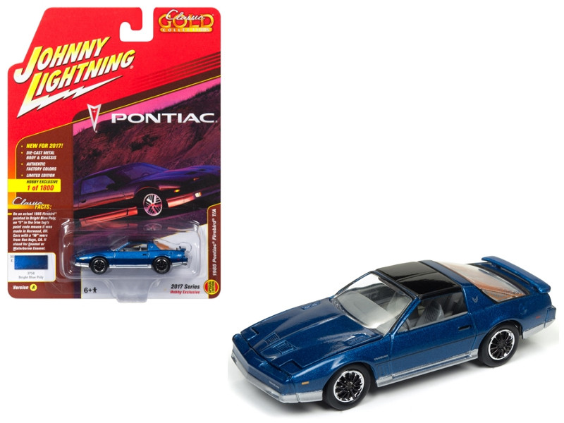 1985 Pontiac Firebird Trans Am Bright Blue Poly Classic Gold Limited Edition to 1800pc Worldwide Hobby Exclusive 1/64 Diecast Model Car Johnny Lightning JLCG011 A