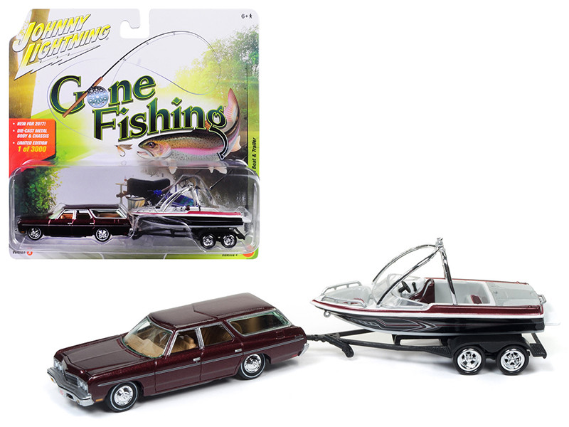 1973 Chevrolet Caprice Station Wagon Dark Red Poly with Malibu Boat Gone Fishing 1/64 Diecast Model Car Johnny Lightning JLBT004 A
