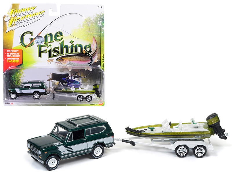 1979 International Scout Emerald green Poly with Bass Boat Gone Fishing 1/64 Diecast Model Car Johnny Lightning JLBT004 A