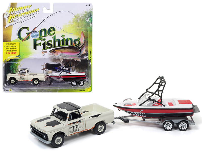 1965 Chevrolet Pickup Truck Light Cream with Mastercraft Boat Gone Fishing 1/64 Diecast Model Car Johnny Lightning JLBT004 B