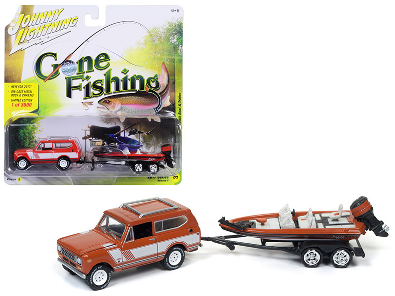 1979 International Scout Persimmon with Bass Boat Gone Fishing 1/64 Diecast Model Car Johnny Lightning JLBT004 B