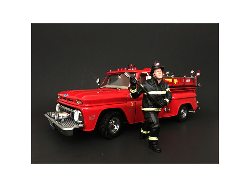 Firefighter with Axe Figurine Figure For 1:18 Models American Diorama 77461