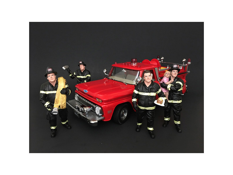 Firefighters 4 Piece Figure Set For 1:24 Scale Models American Diorama 77509 77510 77511 77512