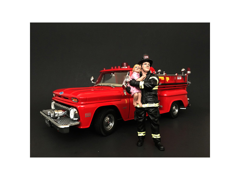 Firefighter Saving Life with Baby Figurine Figure For 1:24 Models American Diorama 77510