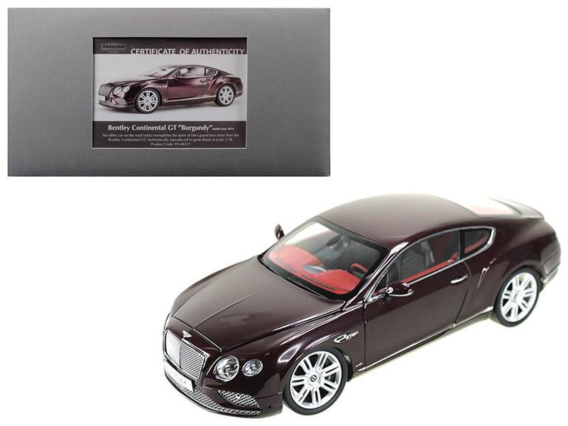 2016 Bentley Continental GT LHD Burgundy 1/18 Diecast Model Car Paragon 98221