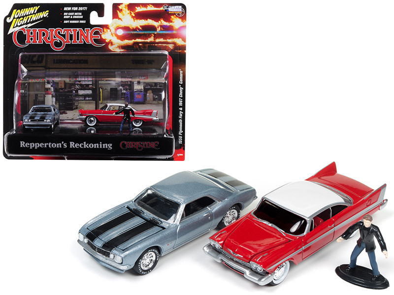 1967 Chevrolet Camaro and 1958 Plymouth Fury with Figurines from Christine Movie 1/64 Diecast Model Cars Johnny Lightning JLDR001 CH