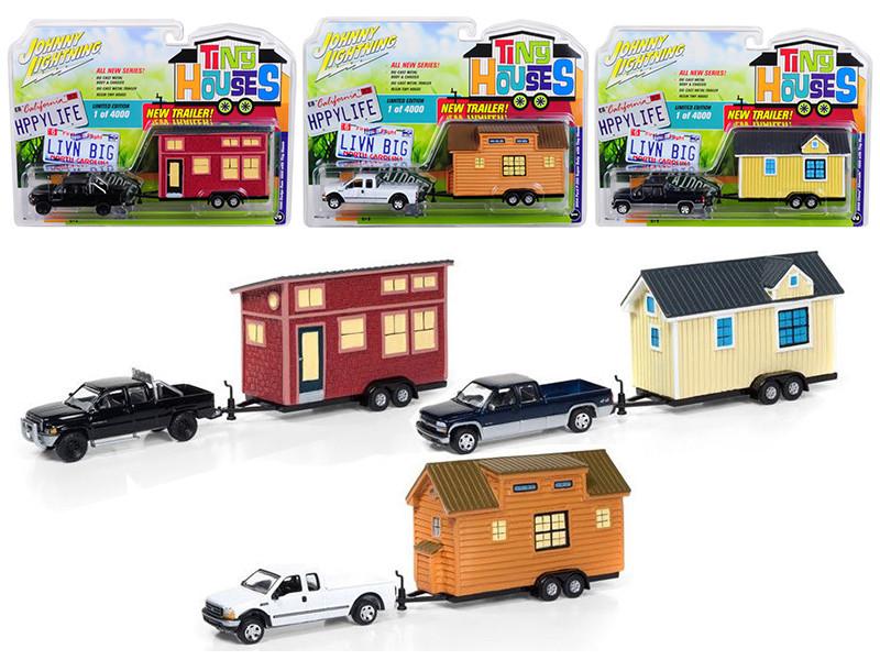 Tiny Houses Set of 3 Trucks Release A 1/64 Diecast Model Cars Johnny Lightning JLTH001 A