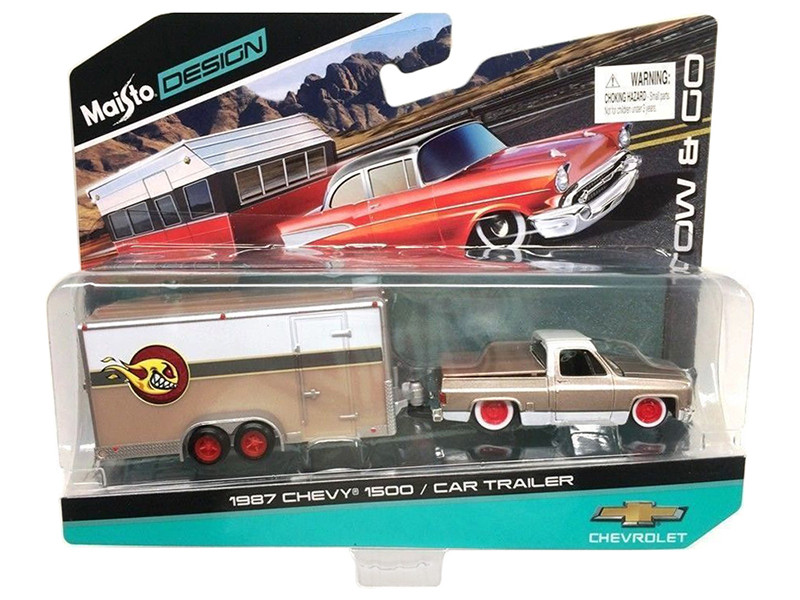 1987 Chevrolet Pickup Truck 1500 Gold and Car Trailer Tow & Go 1/64 Diecast Model Maisto 15368 P