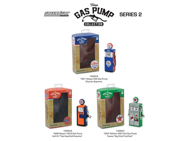 Vintage Gas Pump Series 2 Set of 3 Pumps 1/18 Diecast Models Greenlight 14020