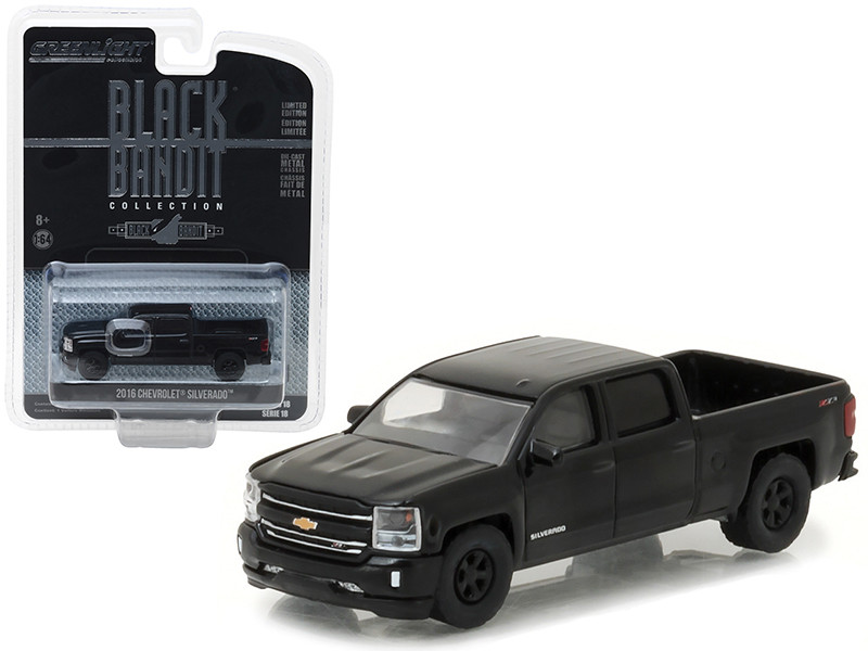 2016 Chevrolet Silverado Pickup Truck Black Bandit 1/64 Diecast Model Car Greenlight 27930 E