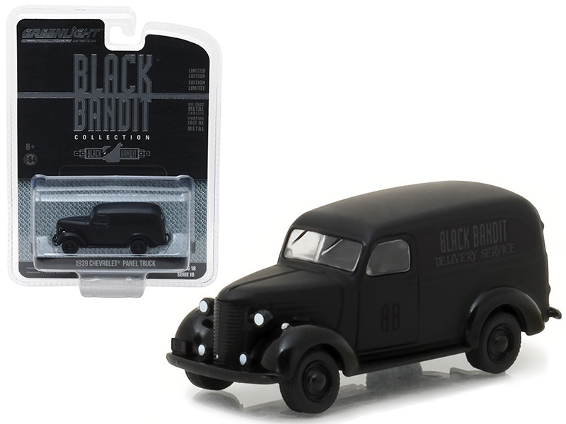 1939 Chevrolet Panel Van Black Bandit 1/64 Diecast Model Car Greenlight 27930 F