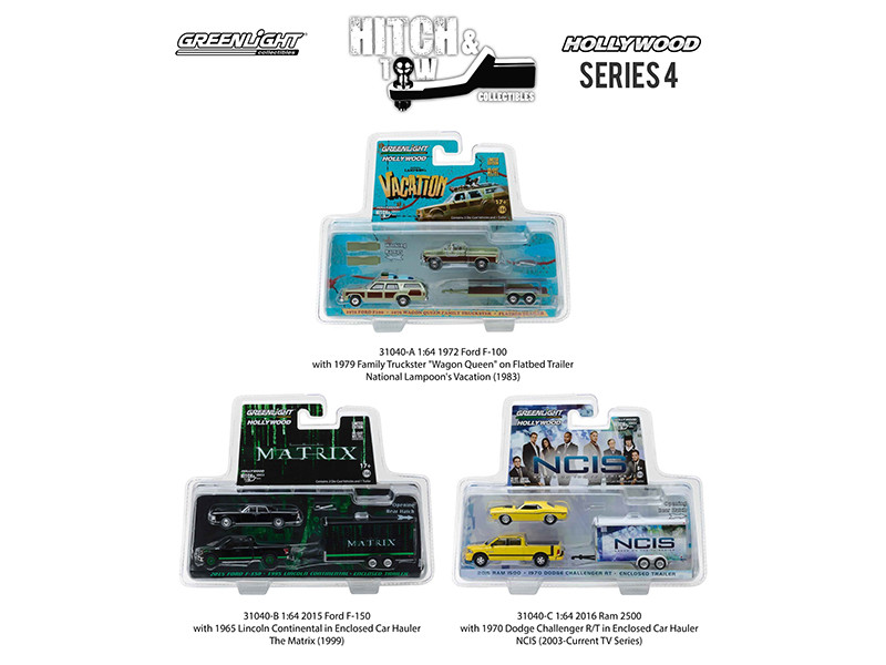 Hollywood Hitch & Tow Series 4 Set of 3 1/64 Diecast Model Cars Greenlight 31040