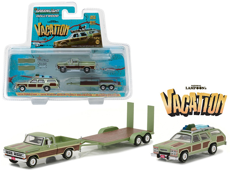 1972 Ford F100 Pickup with 1979 Wagon Queen Family Truckster with Flatbed Trailer which has Working Ramps National Lampoon's Vacation Movie 1983 Hollywood Hitch and Tow Series 4 1/64 Diecast Model Greenlight 31040 A