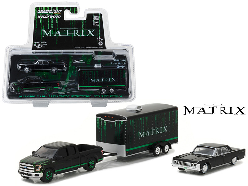 2015 Ford F-150 Pickup Black with 1965 Lincoln Continental Black with Enclosed Car Trailer which has Opening Rear Hatch The Matrix Movie 1999 Hollywood Hitch and Tow Series 4 1/64 Diecast Model Greenlight 31040 B