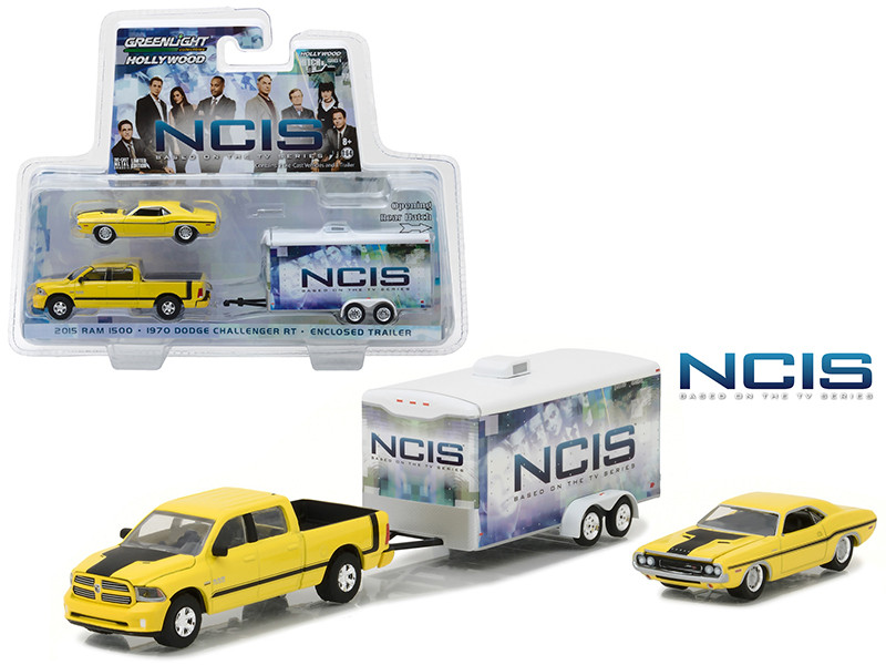 2015 Dodge Ram 1500 Pickup Yellow with 1970 Dodge Challenger R/T Yellow with Enclosed Car Trailer which has Opening Rear Hatch NCIS 2003 Current TV Series Hollywood Hitch and Tow Series 4 1/64 Diecast Model Greenlight 31040 C