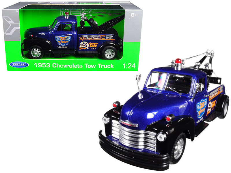 1953 Chevrolet Tow Truck Blue 1/24 Diecast Model Car Welly 22086