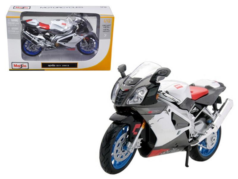 Aprilia RSV 1000 White Motorcycle 1/12 Diecast Model Maisto 31036