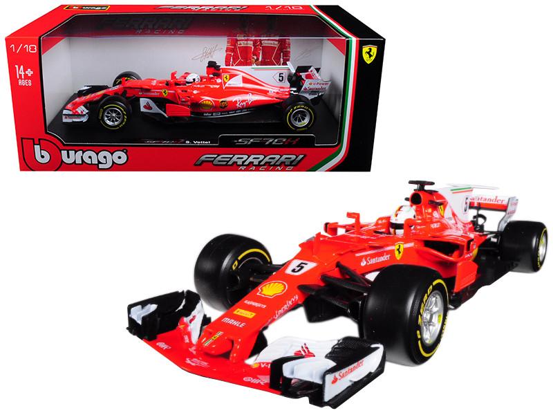 2017 Ferrari Formula 1 F1 SF70H #5 Sebastian Vettel 1/18 Diecast Model Car Bburago 16805 SV