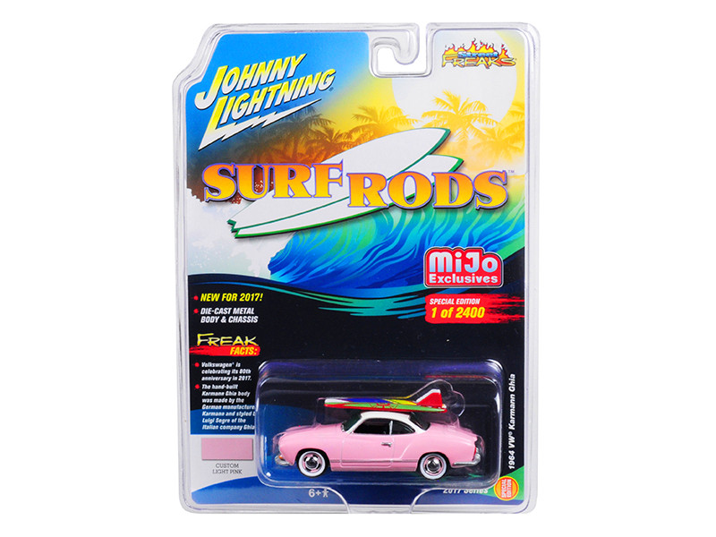 1964 Volkswagen Karmann Ghia Custom Light Pink Limited Edition to 2400pc Worldwide Surf Rods 1/64 Diecast Model Car Johnny Lightning JLCP7024