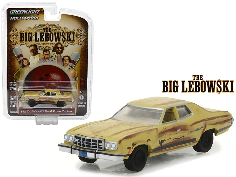 The Dude's 1973 Ford Gran Torino The Big Lebowski Movie 1998 Hollywood Series 18 1/64 Diecast Model Car Greenlight 44780 D
