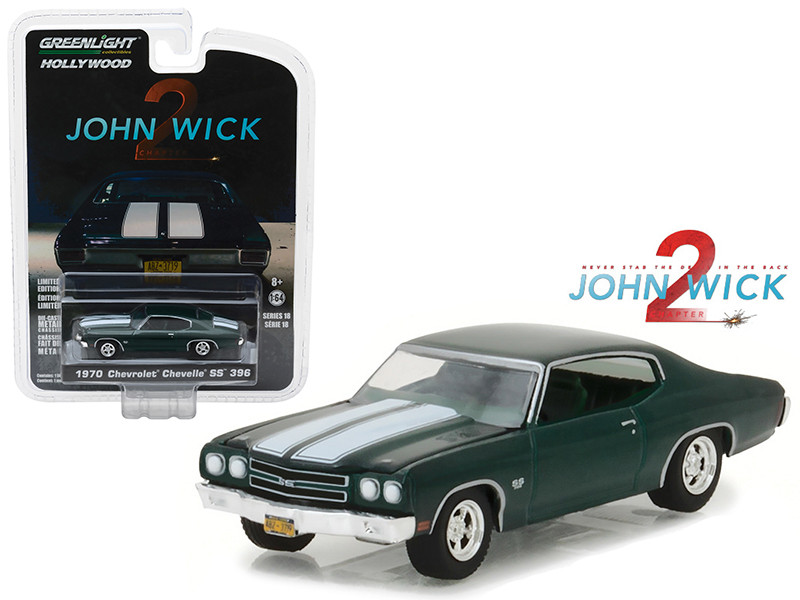 1970 Chevrolet Chevelle SS 396 John Wick Movie Chapter 2 2017 Hollywood Series 18 1/64 Diecast Model Car Greenlight 44780 F