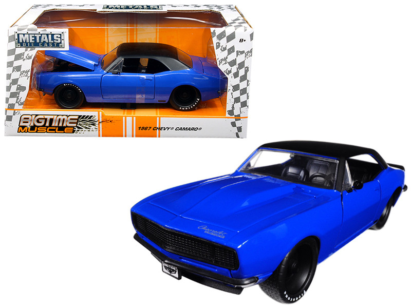 1967 Chevrolet Camaro Blue Big Time Muscle 1/24 Diecast Model Car Jada 98341