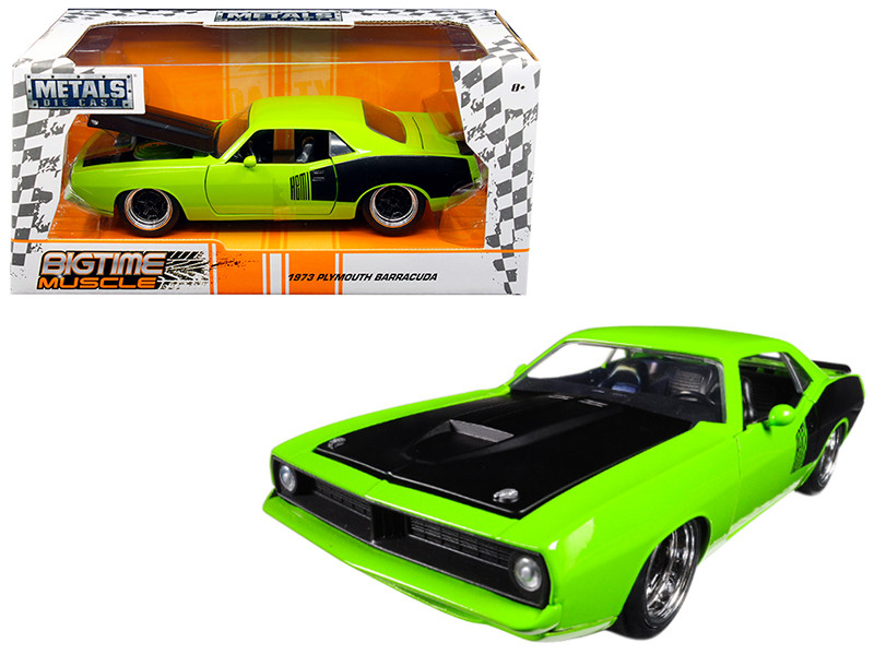 1973 Plymouth Barracuda Green Big Time Muscle 1/24 Diecast Model Car Jada 98343