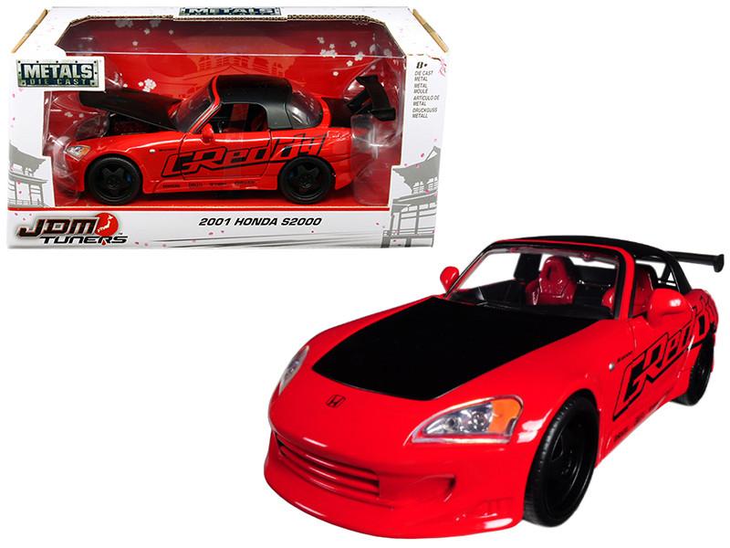 2001 Honda S2000 Red JDM Tuners 1/24 Diecast Model Car Jada 98686