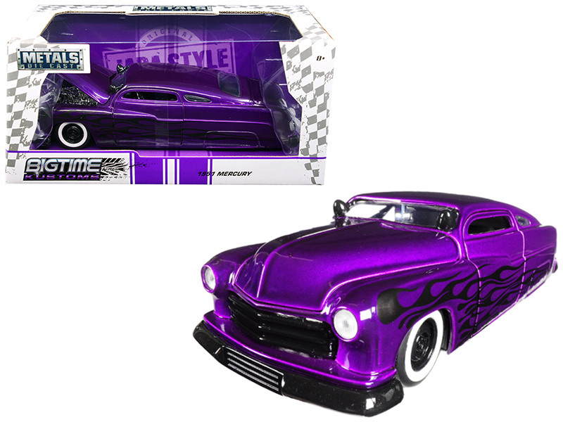 1951 Mercury Purple with Flames Big Time Kustoms 1/24 Diecast Model Car Jada 99061