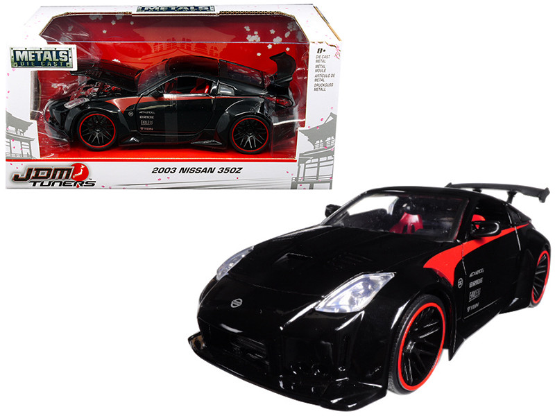 2003 Nissan 350Z Black JDM Tuners 1/24 Diecast Model Car Jada 99111