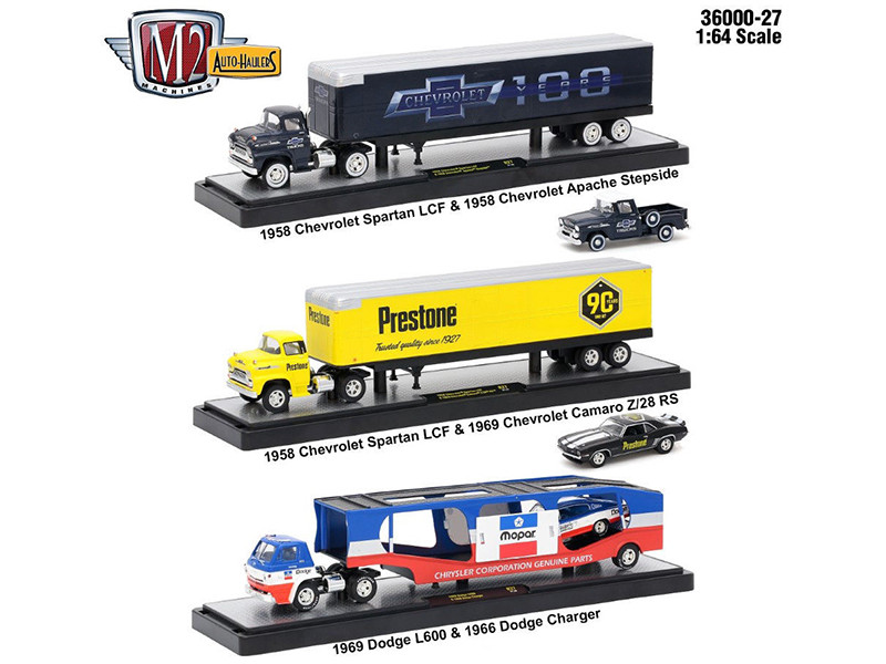Auto Haulers Release 27 3 Trucks Set 1/64 Diecast Models M2 Machines 36000-27