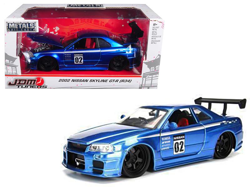 2002 Nissan Skyline GT-R R34 Blue #02 JDM Tuners 1/24 Diecast Model Car Jada 99115