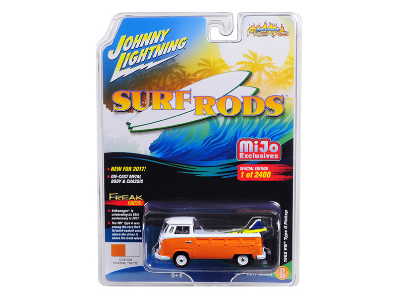 1962 Volkswagen Type II Pickup Custom Orange White Limited Edition to 2400pc Worldwide Surf Rods 1/64 Diecast Model Car Johnny Lightning JLCP7023
