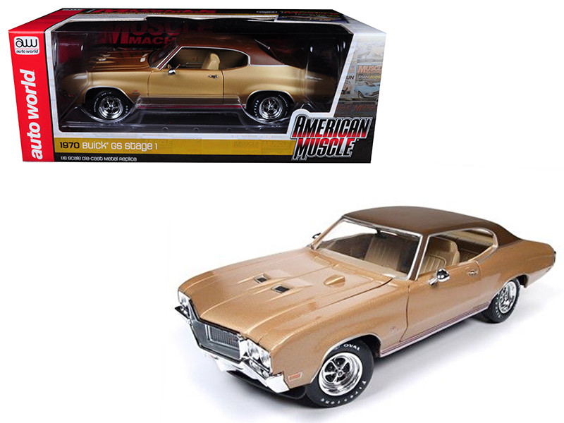1970 Buick Skylark GS Gold Hemmings Muscle Machines Limited Edition to 1002pc 1/18 Diecast Model Car Autoworld AMM1105