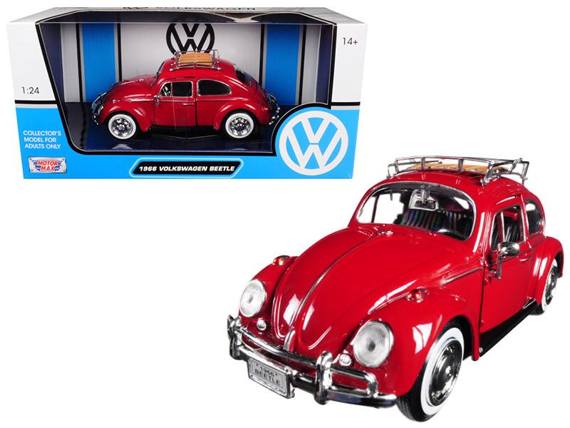 1966 Volkswagen Classic Beetle Red 1/24 Diecast Car Model Motormax 79558