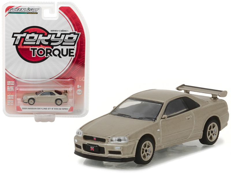 2001 Nissan Skyline GT-R R34 M-Spec Silica Breath Tokyo Torque Series 1 1/64 Diecast Model Car Greenlight 29880 D