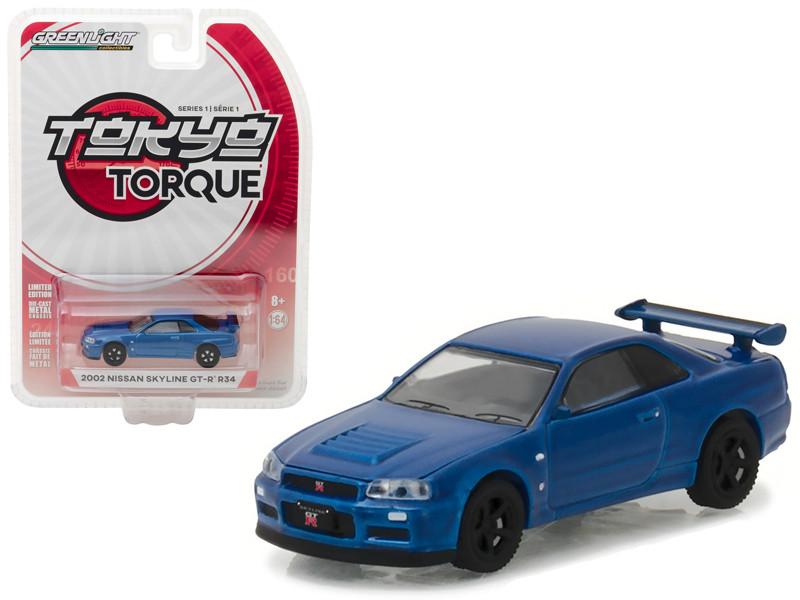2002 Nissan Skyline GT-R R34 Bayside Blue Tokyo Torque Series 1 1/64 Diecast Model Car Greenlight 29880 E