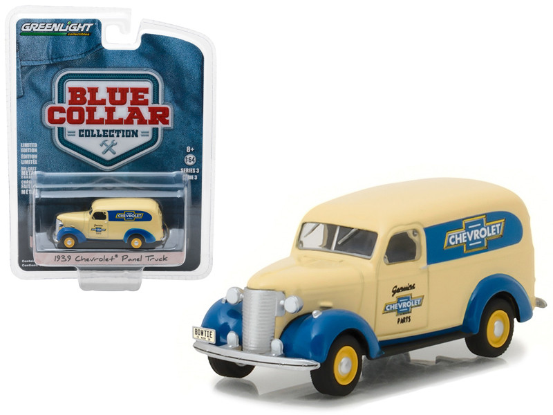 1939 Chevrolet Panel Truck Genuine Chevrolet Parts Blue Collar Collection Series 3 1/64 Diecast Model Car Greenlight 35080 A