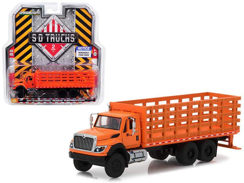 2017 International Workstar Platform Stake Truck Orange SD Trucks Series 2 1/64 Diecast Model Greenlight 45020 B