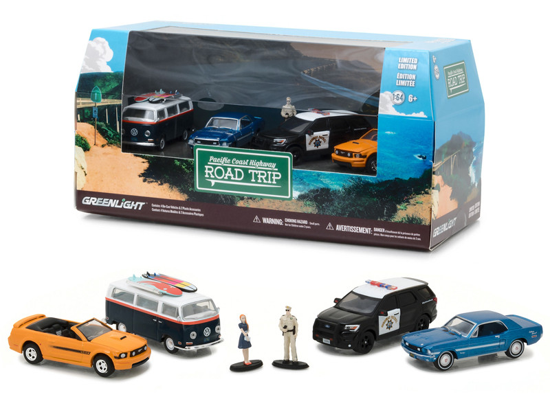 Pacific Coast Highway Road Trip 6pc Set Multi Car Diorama with Figurines 1/64 Diecast Model Cars Greenlight 58043