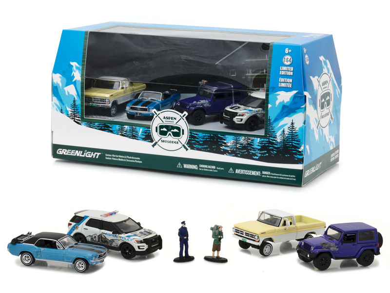 Aspen Colorado Ski Lodge 6pc Set Multi Car Diorama with Figurines 1/64 Diecast Model Cars Greenlight 58044