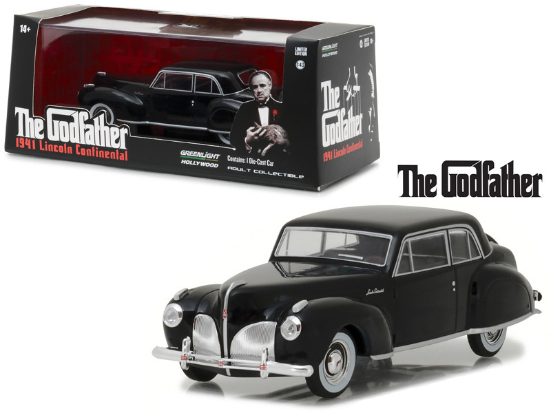 1941 Lincoln Continental Black The Godfather Movie 1972 1/43 Diecast Model Car Greenlight 86507