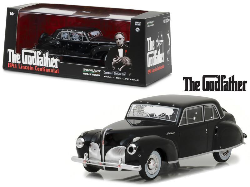 1941 Lincoln Continental Black with Bullet Damage The Godfather Movie 1972 1/43 Diecast Model Car Greenlight 86511